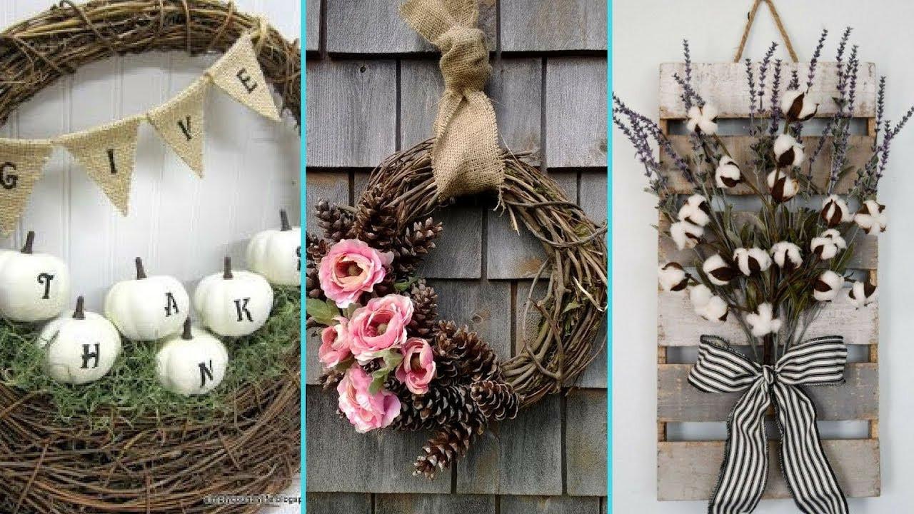 Shabby Chic Fall Decor  DIY Shabby Chic style Fall Wreath decor Ideas