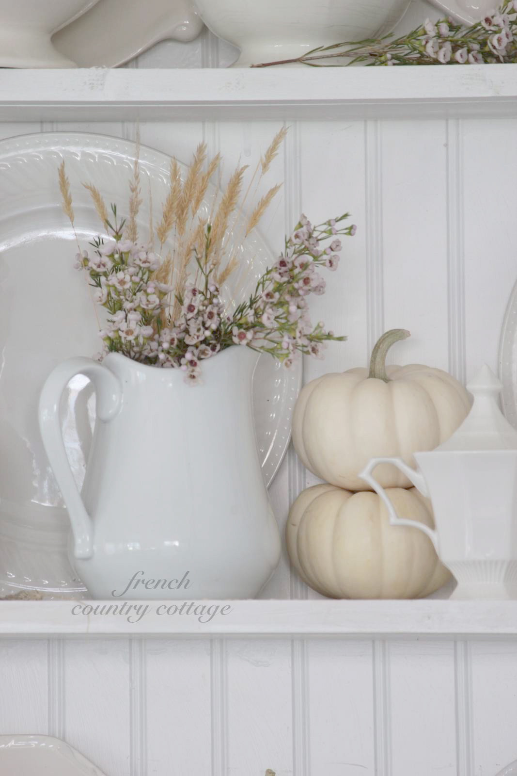 Shabby Chic Fall Decor  White Dishes Dressed for Fall FRENCH COUNTRY COTTAGE