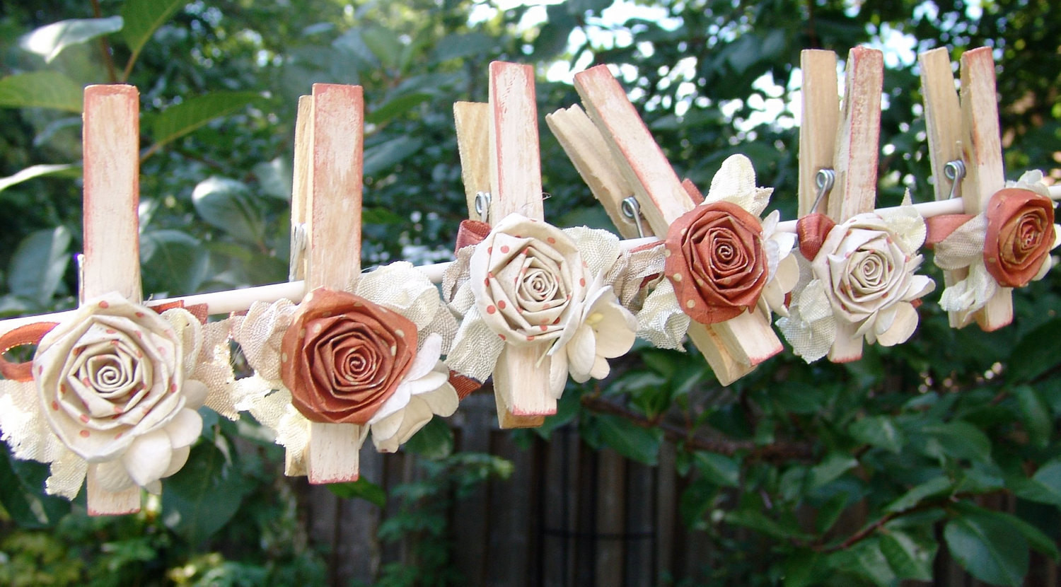 Shabby Chic Fall Decor  Shabby Chic Autumn Wedding Decorations decorated Clothes Pins