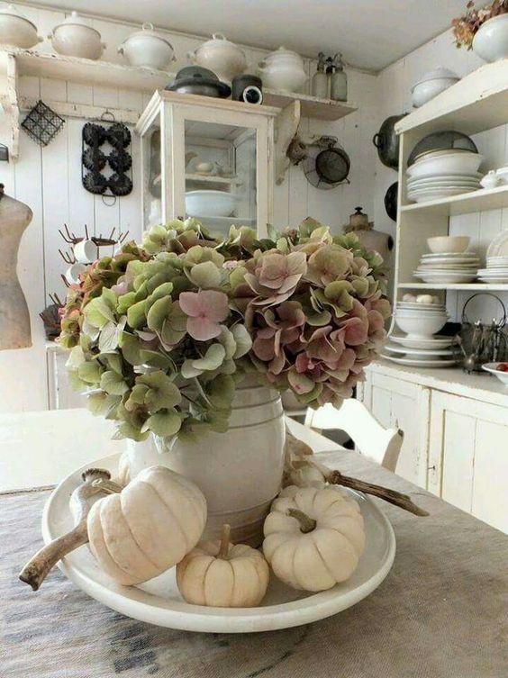 Shabby Chic Fall Decor  Shabby vintage farmhouse kitchen with sweet fall decor