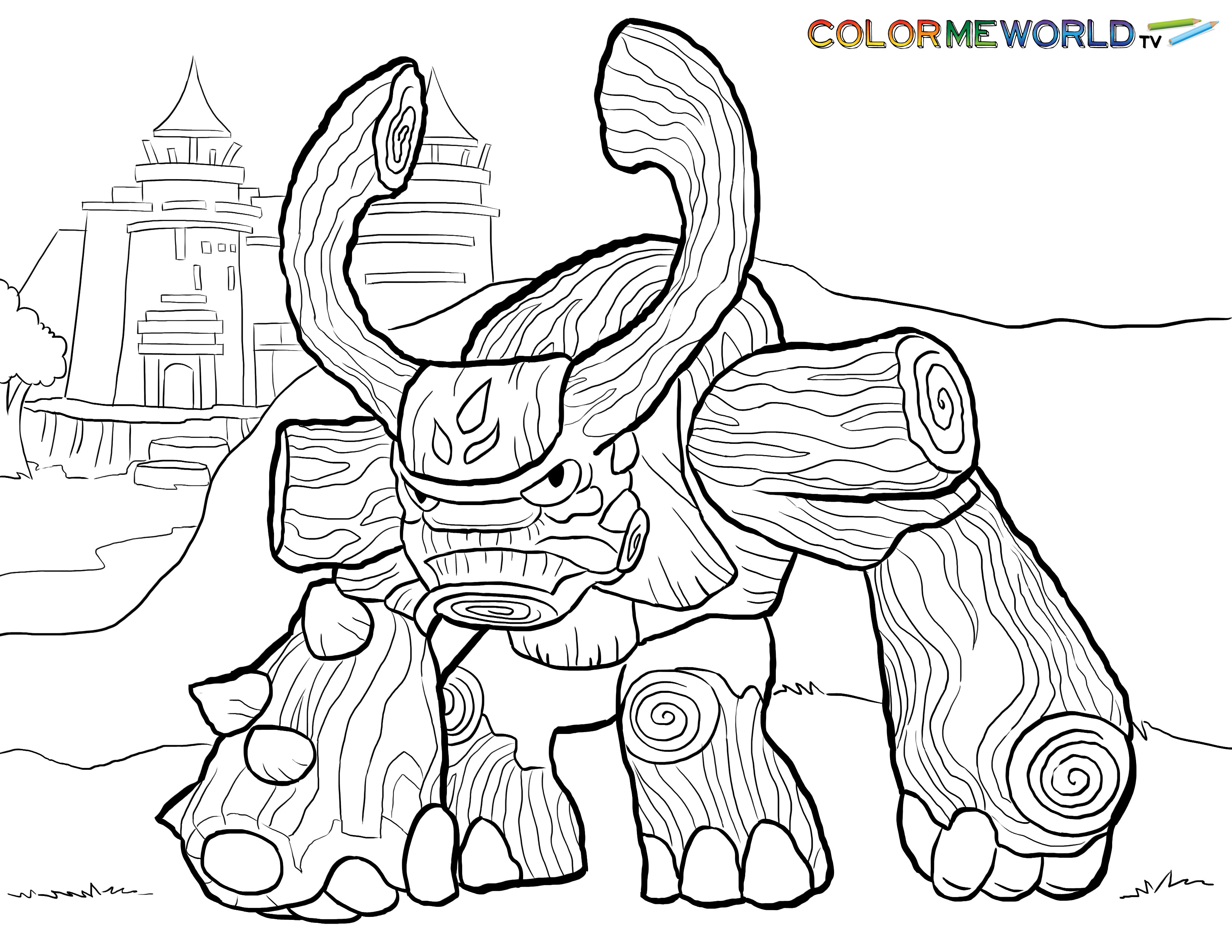 Skylander Boy And Girl Coloring Pages  Tree Rex Coloring Page
