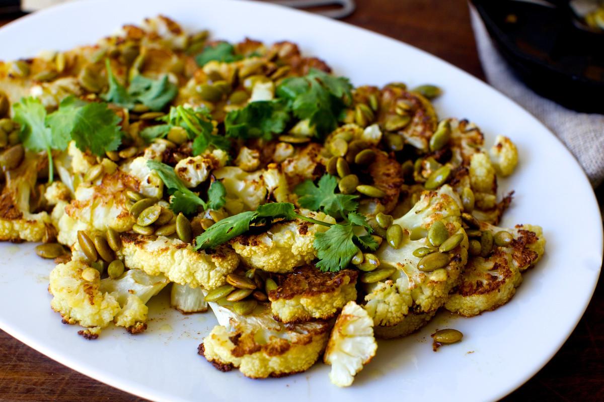 Smitten Kitchen Thanksgiving  roasted cauliflower with pumpkin seeds brown butter and