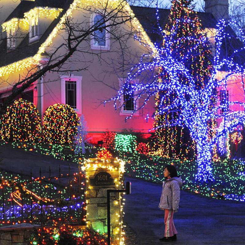 Solar Outdoor Christmas Lights  LED La Luz Solar Garden Blue String Lights Christmas Solar