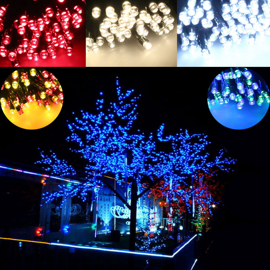 Solar Outdoor Christmas Lights  100 200 Colorful LED Solar String Lights Multi Christmas