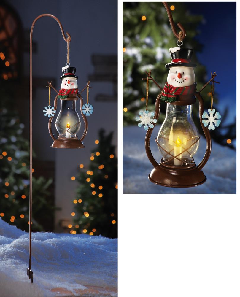 Solar Outdoor Christmas Lights  Solar Country Snowman Outdoor Garden Lantern w Hanging
