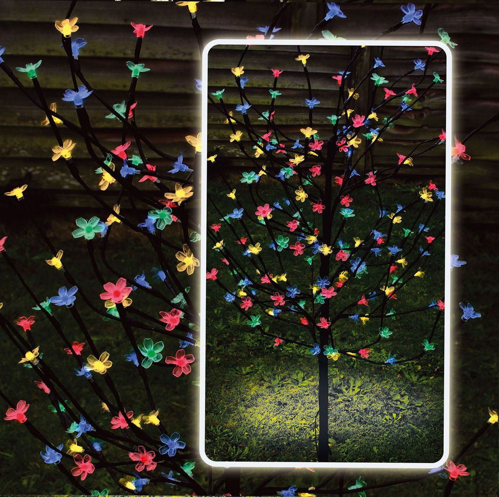 Solar Outdoor Christmas Lights  4ft 120 LED Solar Powered Blossom Bonsai Tree Outdoor