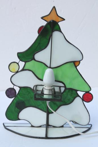 Stained Glass Christmas Tree Lamp  stained glass Christmas tree light electric candle lamp