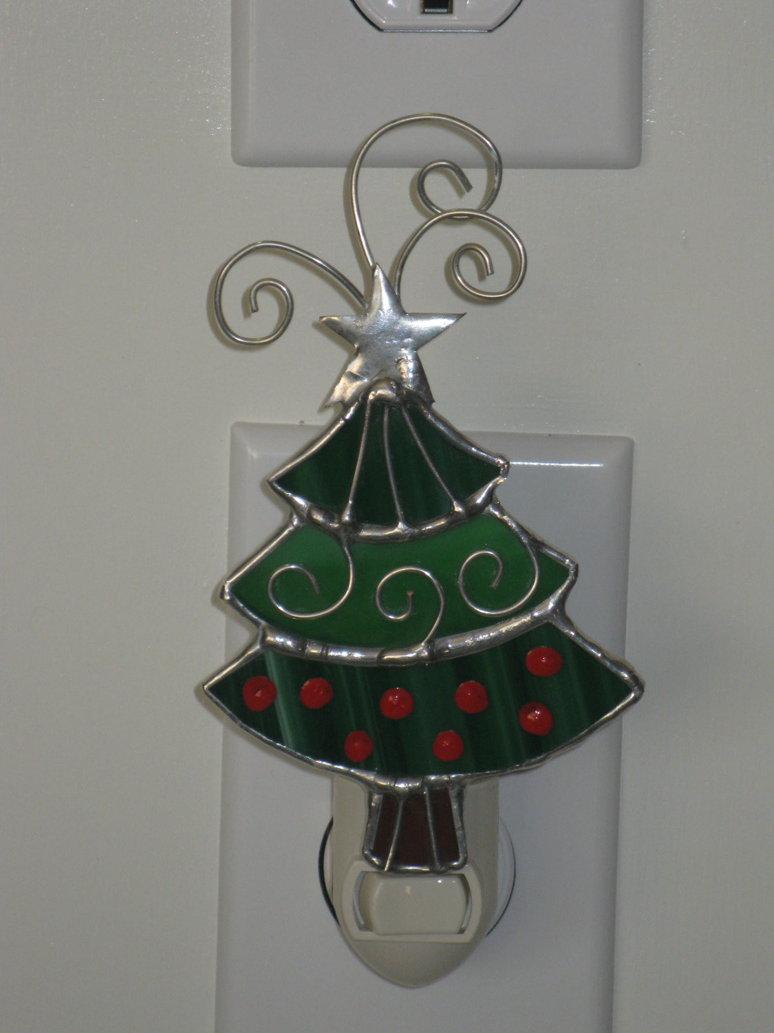 Stained Glass Christmas Tree Lamp  Items similar to Stained Glass Christmas Tree Night Light