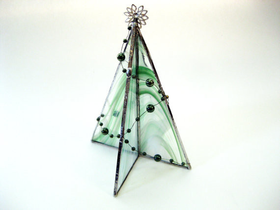 Stained Glass Christmas Tree Lamp  Freestanding Stained Glass Christmas Tree Table Decoration