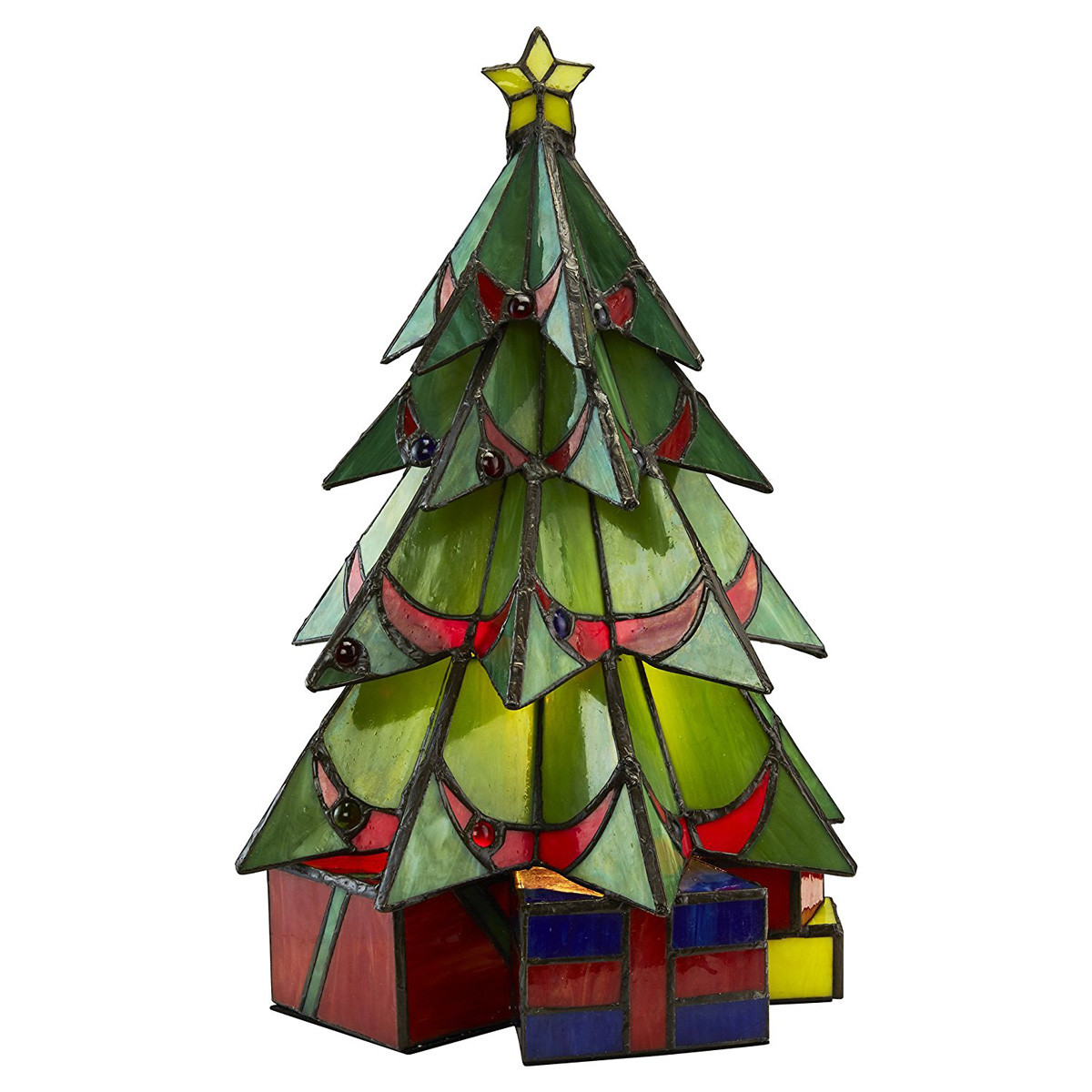 Stained Glass Christmas Tree Lamp  Illuminated Stained Glass Christmas Tree Sculpture So