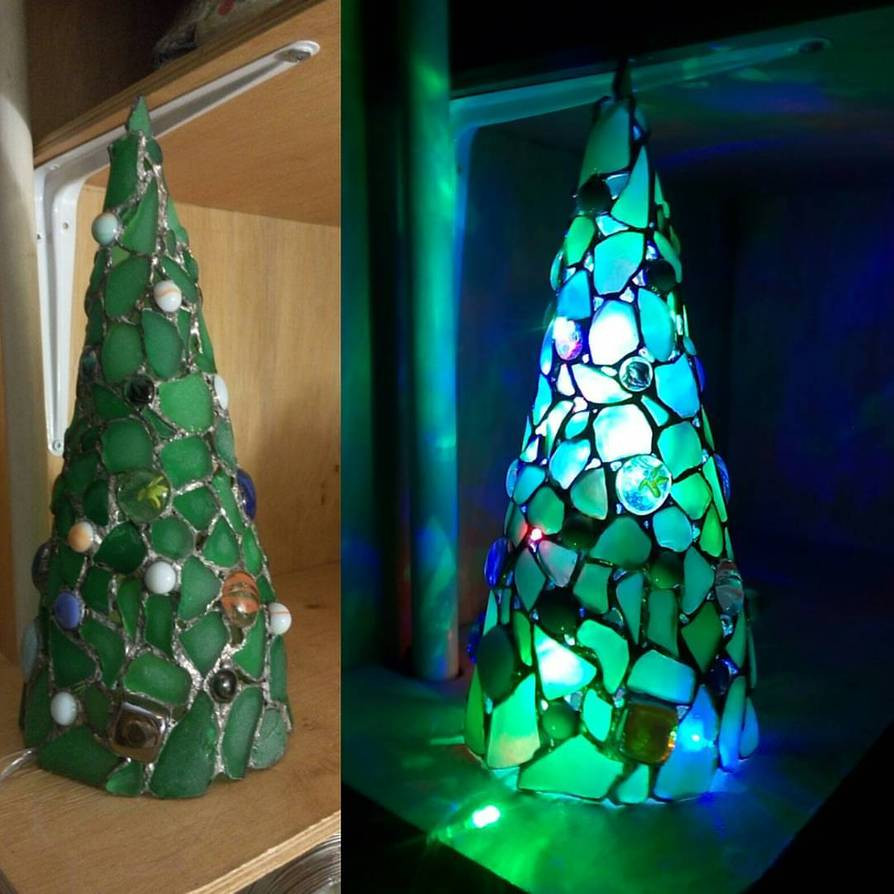 Stained Glass Christmas Tree Lamp  Sea stained glass Christmas tree Christmas light by