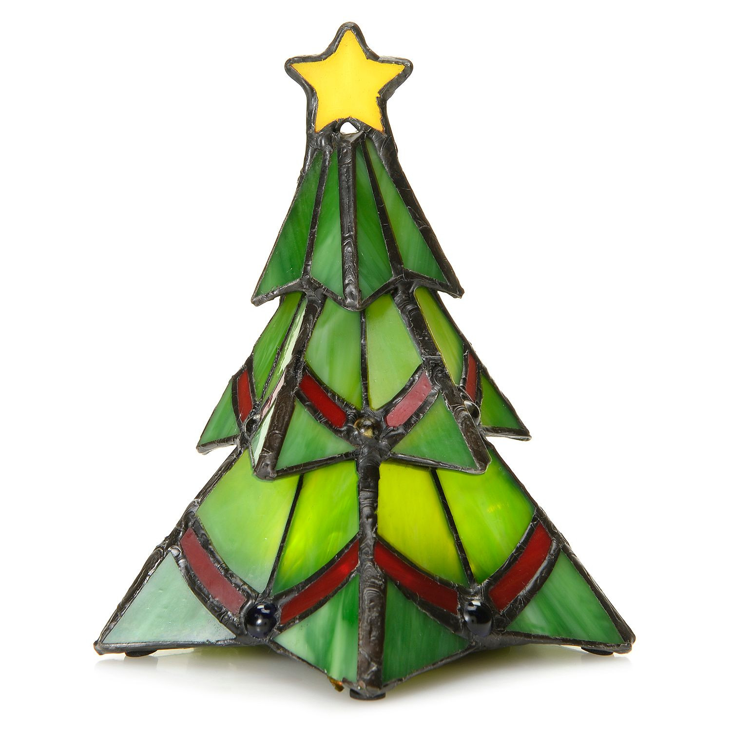 Stained Glass Christmas Tree Lamp  Tiffany Style Stained Glass Wireless LED Holiday Accent