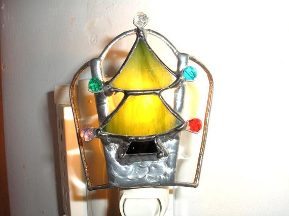 Stained Glass Christmas Tree Lamp  LT Stained glass Christmas tree night light lamp with colored
