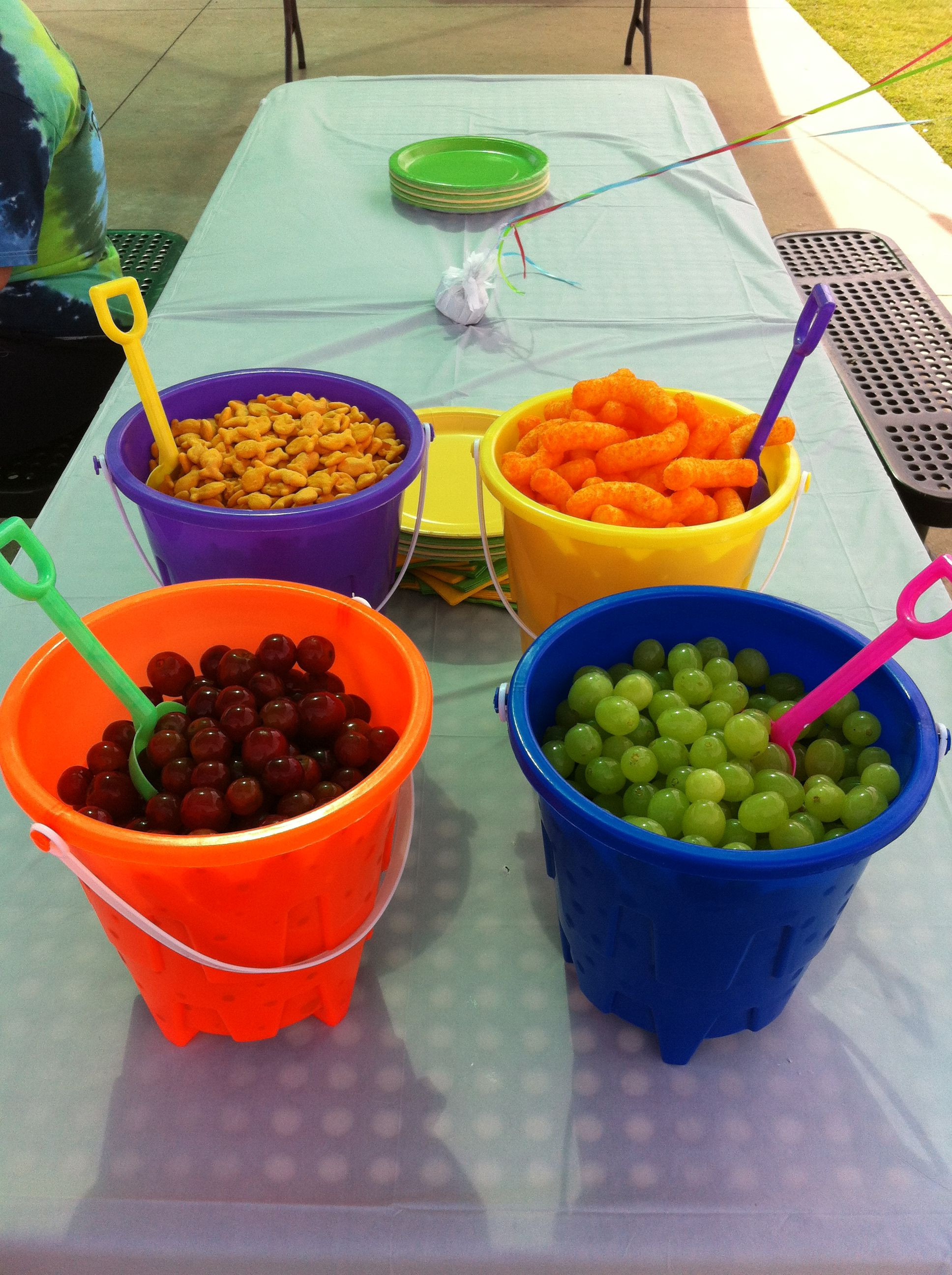 Summer Food Party Ideas  Summer birthday od served in sand buckets purchased