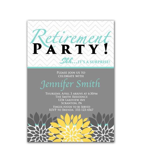 Surprise Retirement Party Ideas  Surprise Retirement Party Invitation Blue Yellow by