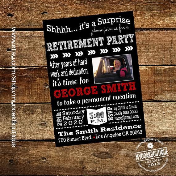 Surprise Retirement Party Ideas  Surprise retirement party invitation trucker adult retirement