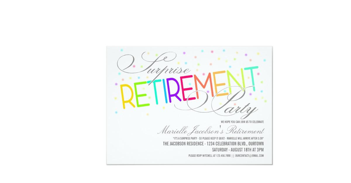 """Surprise Retirement Party Ideas  Surprise Retirement Party Invitations 5"""" X 7"""" Invitation"""