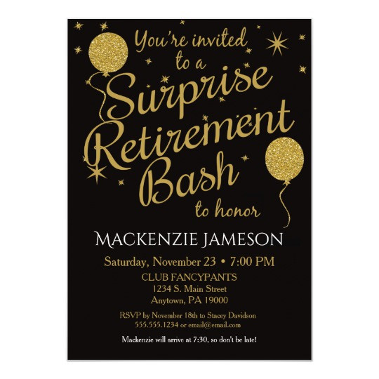 Surprise Retirement Party Ideas  Surprise Retirement Party Invitation Gold Balloons