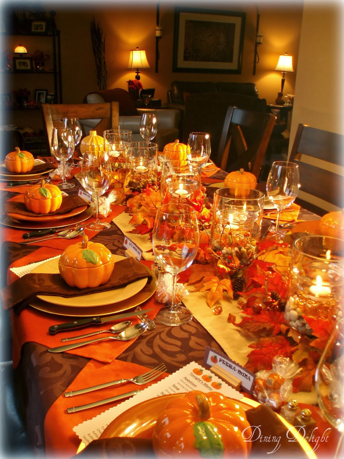 Table Decorations For Thanksgiving  Dining Delight Fall Dinner Party for Ten