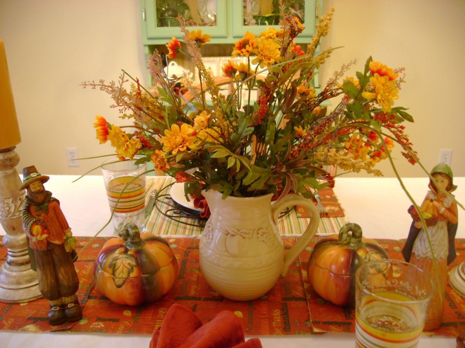 Table Decorations For Thanksgiving  The Sunny Side of the Sun Porch My Thanksgiving Table