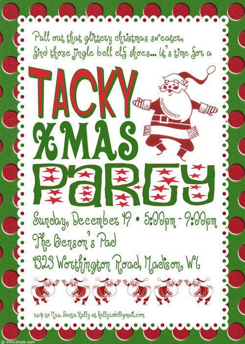 Tacky Christmas Party Ideas  Tacky Christmas Party Invitation Poem Idea Grab all your