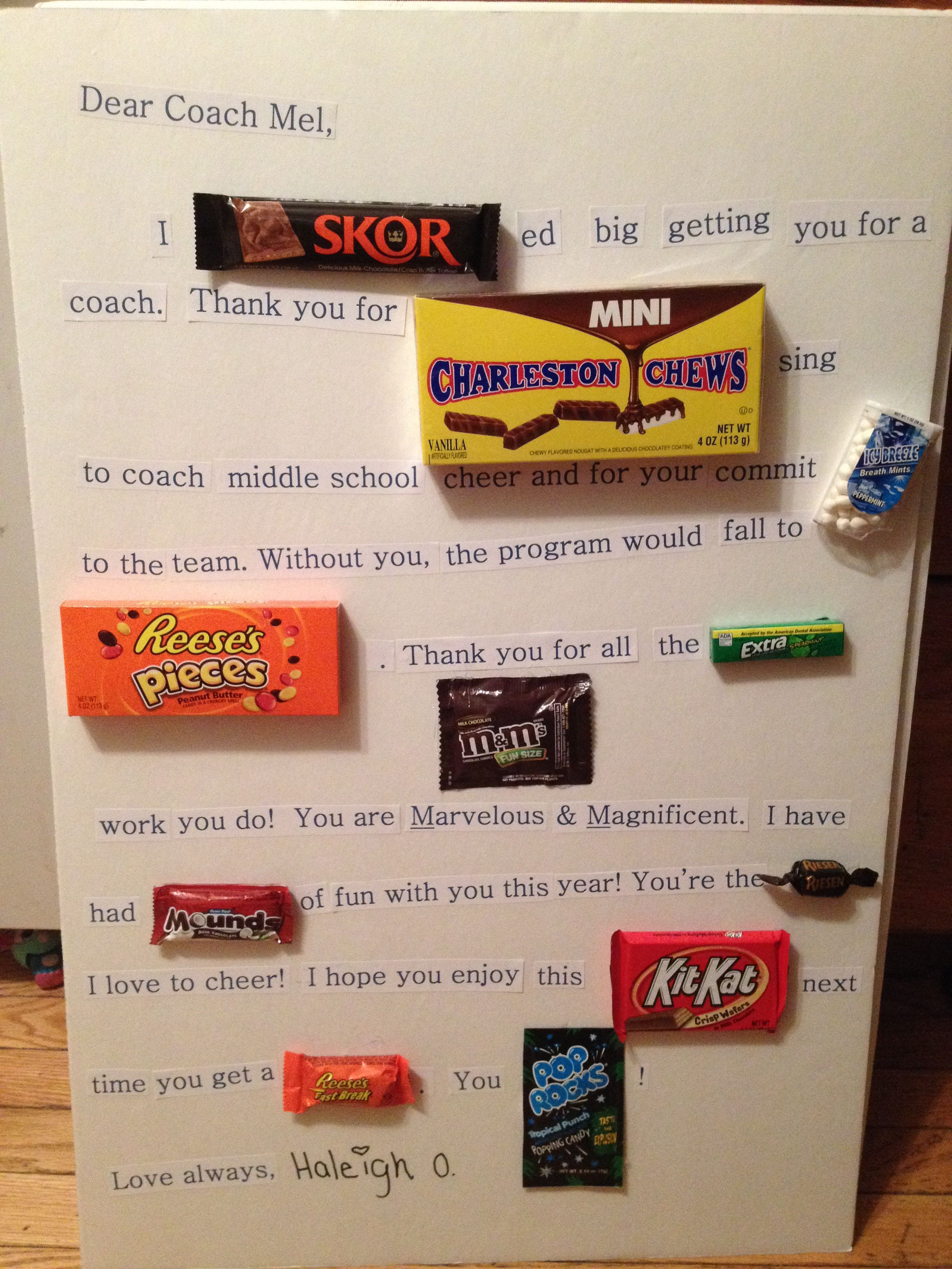 Thank You Coach Gift Ideas  A thank you t for my daughter s cheer coach Candy