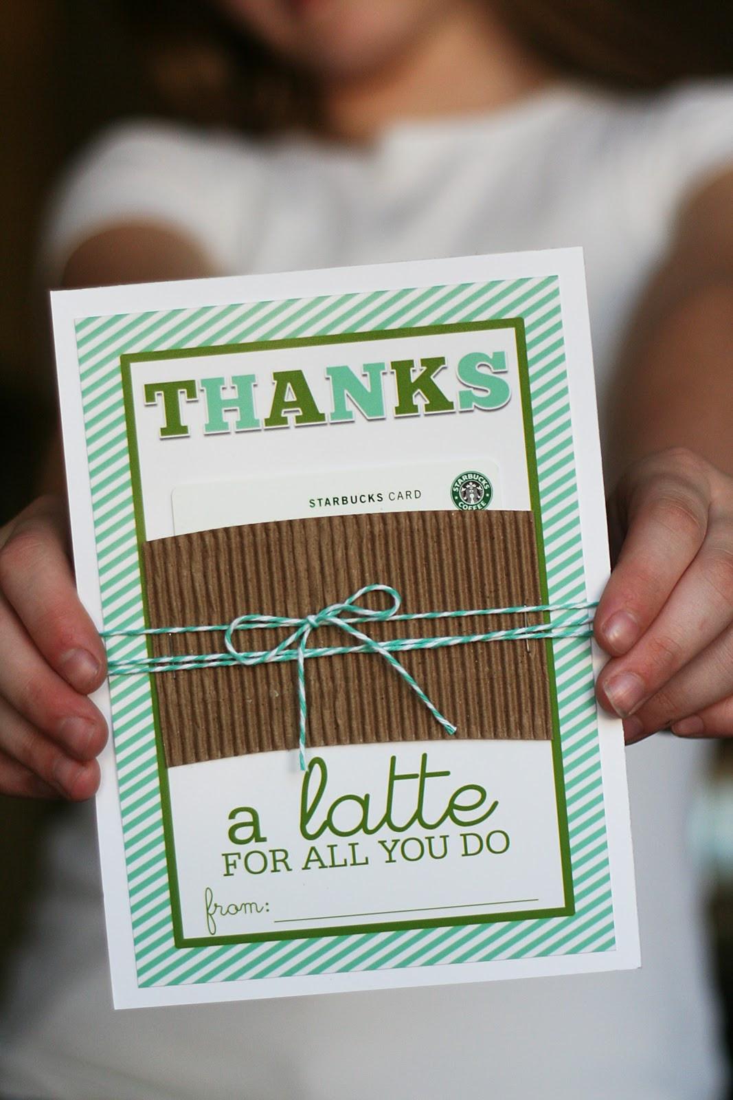 "Thank You Teacher Gift Ideas  Printable Thanks ""a latte"" Gift Card Holder Teacher"