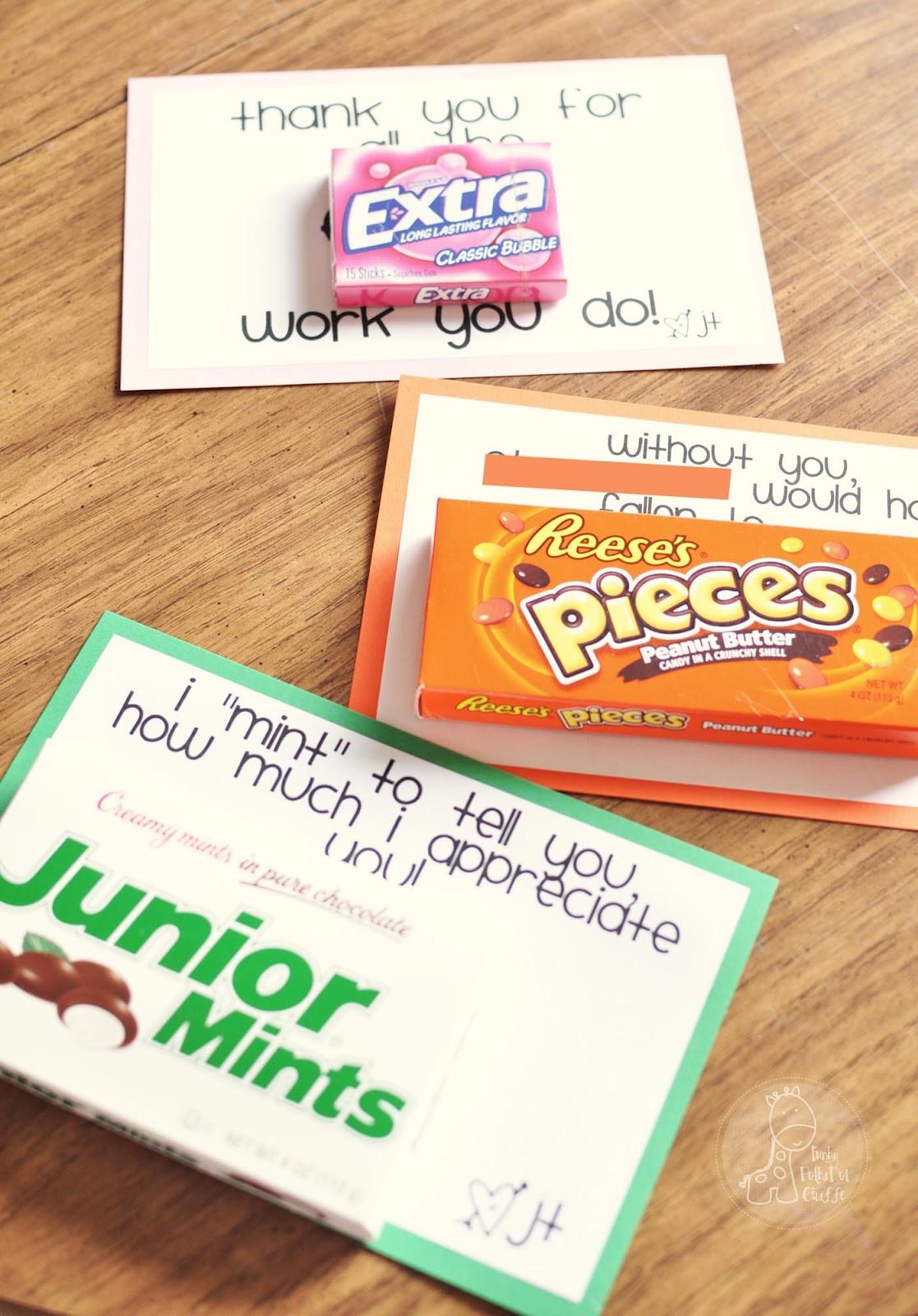 Thank You Teacher Gift Ideas  Funky Polkadot Giraffe Teacher Appreciation Sweet Notes