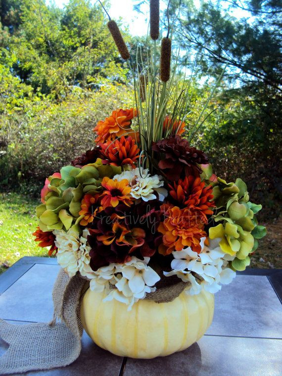 Thanksgiving Flower Arrangement Ideas  Fall White pumpkin Autumn Thanksgiving Flower Arrangement