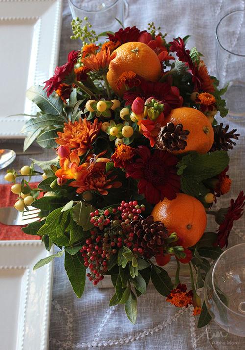 Thanksgiving Flower Centerpiece  Thanksgiving Centerpiece With Oranges Berries & Flowers