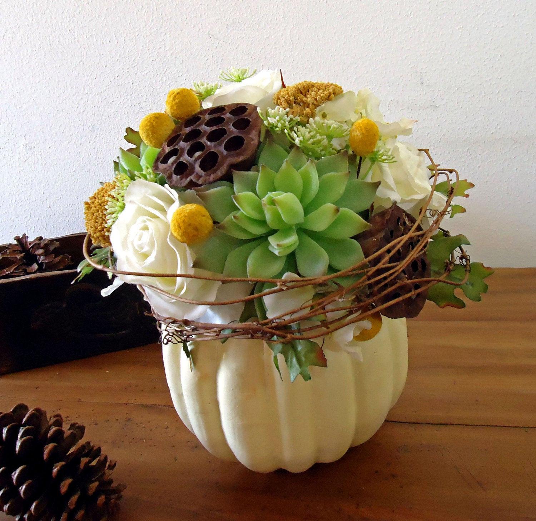 Thanksgiving Flower Centerpiece  Thanksgiving Centerpiece White Pumpkin Autumn Floral