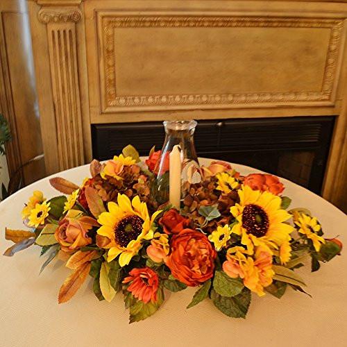Thanksgiving Flower Centerpiece  Thanksgiving Floral Candle Centerpieces
