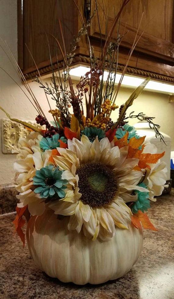 Thanksgiving Flower Centerpiece  Fall Flower Centerpiece Thanksgiving Centerpiece Pumpkin