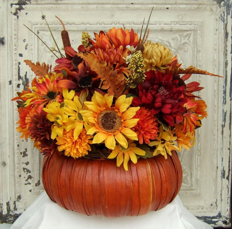 Thanksgiving Flower Centerpieces  Fall Floral Arrangement Thanksgiving Centerpiece Pumpkin