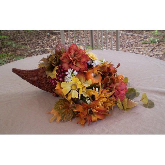 Thanksgiving Flower Centerpieces  Thanksgiving floral centerpiece cornucopia flower arrangement