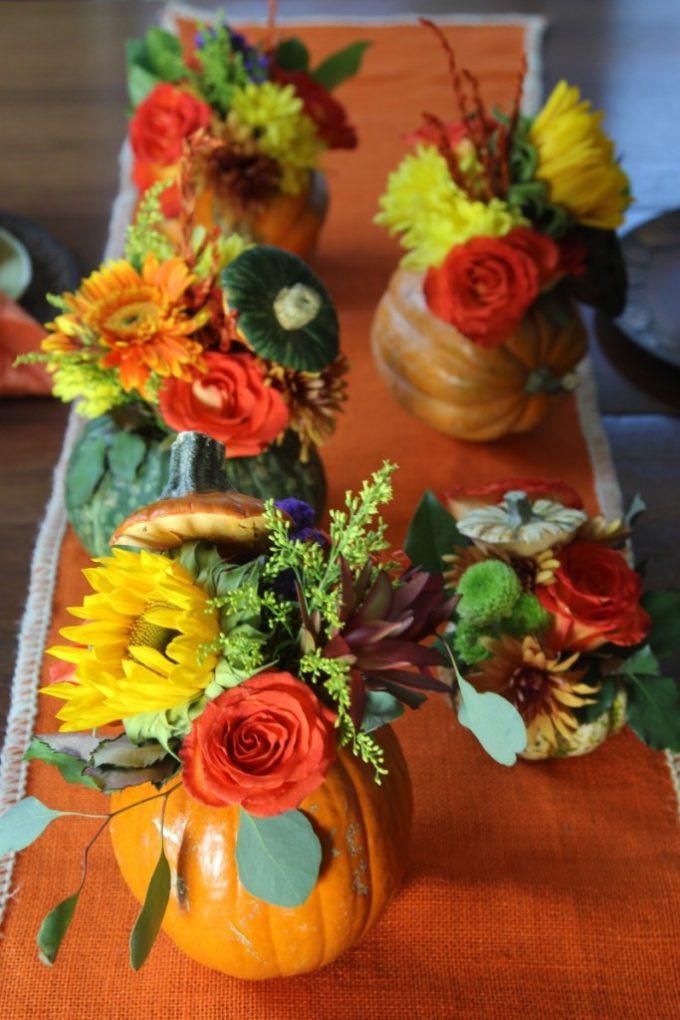 Thanksgiving Flower Centerpieces  Thanksgiving Pumpkin Flower Centerpieces