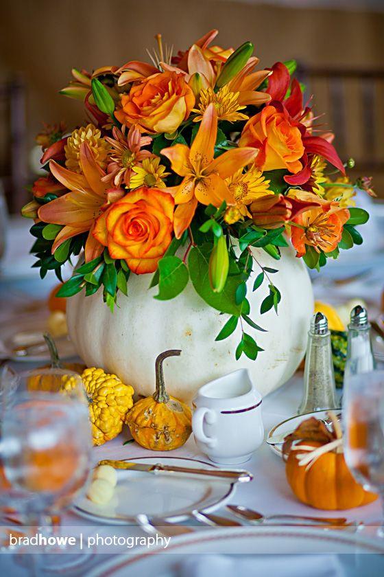 Thanksgiving Flower Centerpieces  White pumpkin centerpieces by