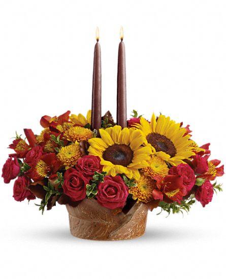 Thanksgiving Flower Centerpieces  Sunny Thanksgiving Centerpiece Flowers Sunny Thanksgiving