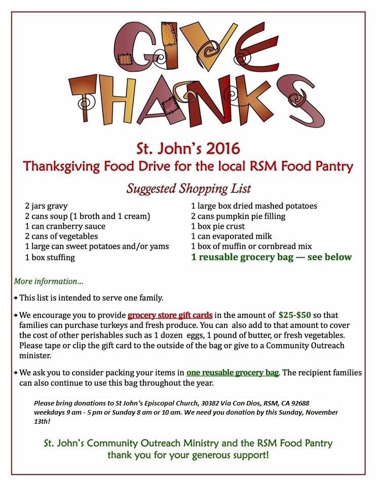 Thanksgiving Food Pantry  St John s Episcopal Church Rancho Santa Margarita CA