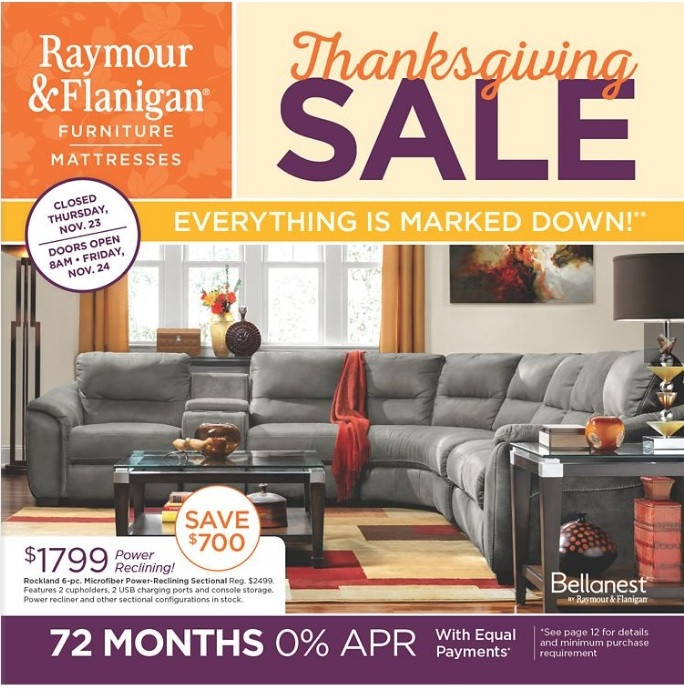 Thanksgiving Furniture Sale  Raymour & Flanigan Black Friday 2018 Ads Deals and Sales