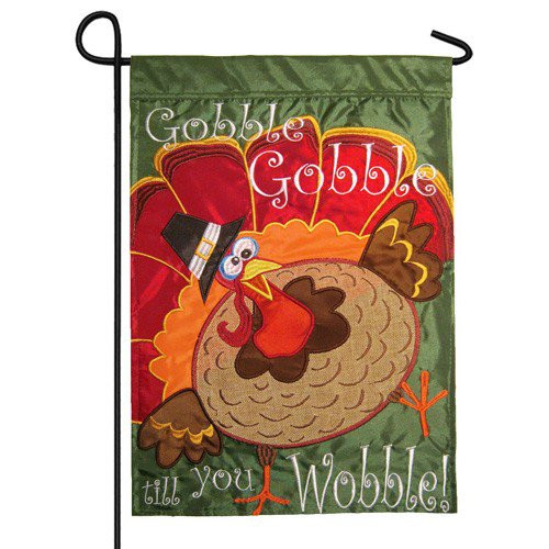 Thanksgiving Garden Flags  Gobble Gobble Gobble Wobble Happy Thanksgiving Garden Flag