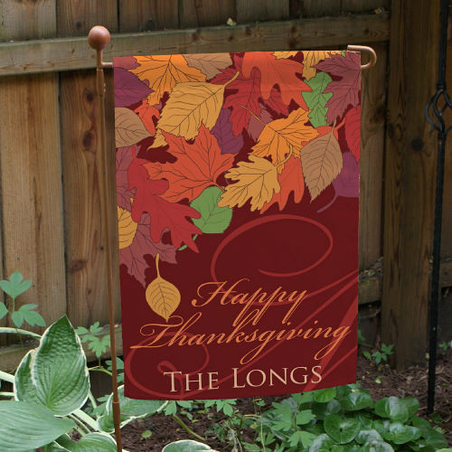 Thanksgiving Garden Flags  Personalized Happy Thanksgiving Garden Flag Autumn Leaves