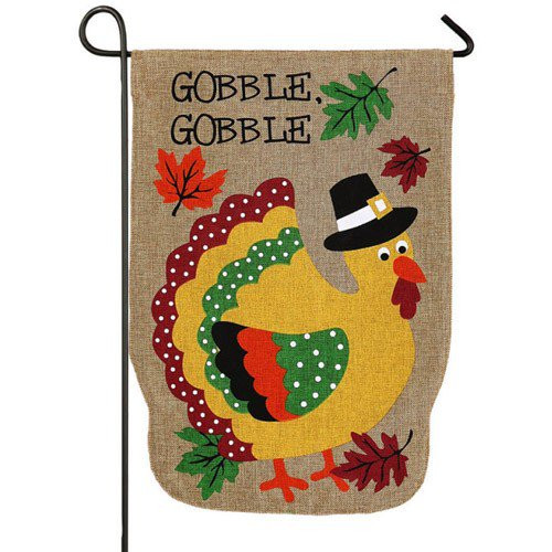 Thanksgiving Garden Flags  Pilgrim Turkey Burlap Garden Flag Thanksgiving Garden