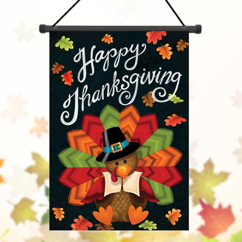 Thanksgiving Garden Flags  30x45cm Thanksgiving Polyester Turkey Wel e Flag Garden