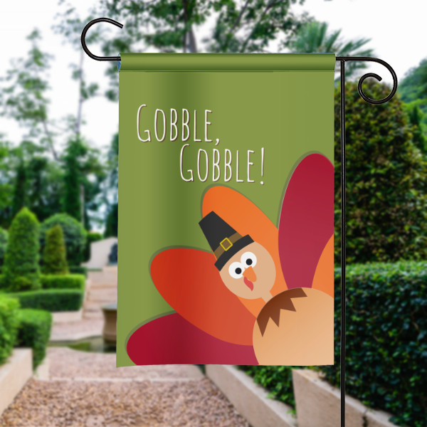 Thanksgiving Garden Flags  Gobble Gobble Silly Sideways Thanksgiving Turkey Garden