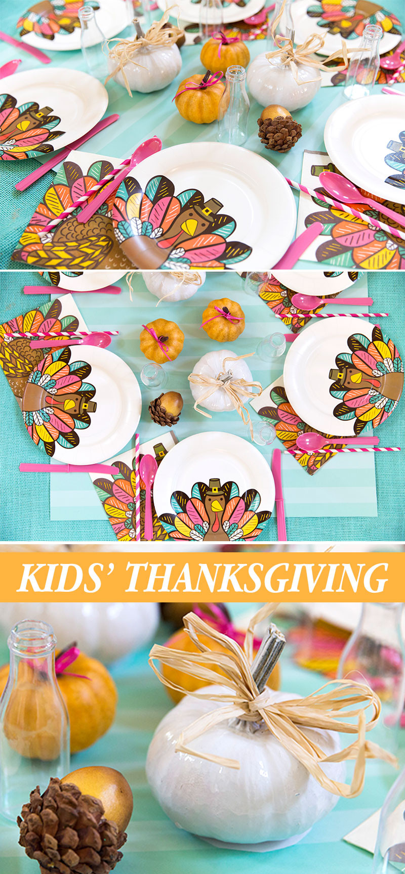 Thanksgiving Kids Table  Bright Colorful Thanksgiving Kids Table