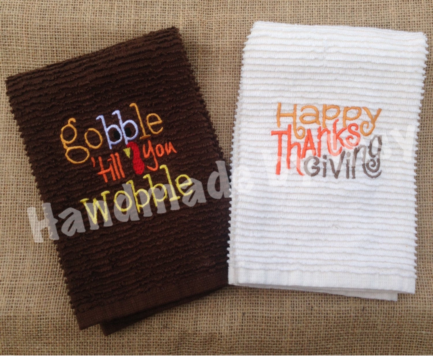 Thanksgiving Kitchen Towels  Thanksgiving Dish Towels set of 2 Gobble Till You Wobble