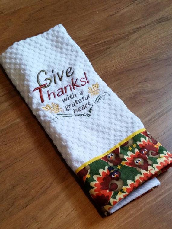 Thanksgiving Kitchen Towels  Thanksgiving Kitchen Towel Give Thanks Towel Thanksgiving