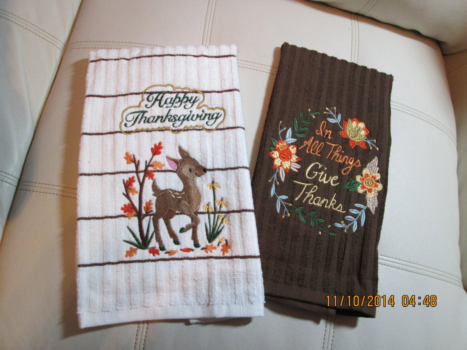 Thanksgiving Kitchen Towels  Thanksgiving embroidered kitchen towels set