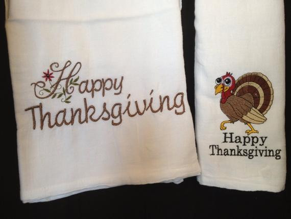 Thanksgiving Kitchen Towels  Embroidered Thanksgiving kitchen towels by LindaKaysCreations